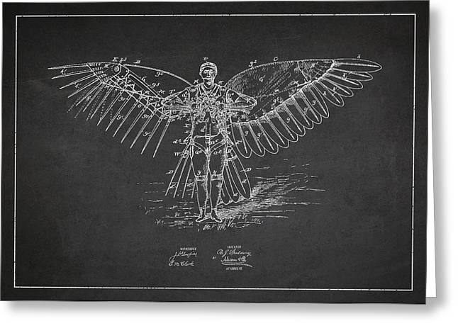 Icarus Flying Machine Patent Drawing Front View Greeting Card by Aged Pixel