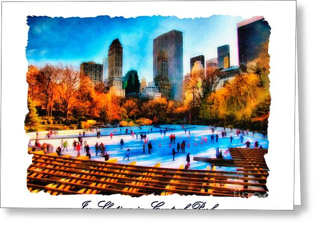 Wollman Rink Greeting Cards - Ice Skating in Central Park Greeting Card by Betsy Foster Breen