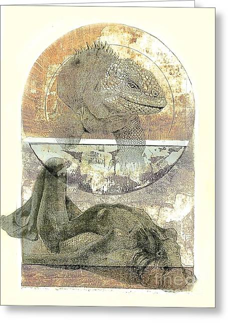 Printmaking Mixed Media Greeting Cards - Iguana Dreams Greeting Card by Marte Thompson