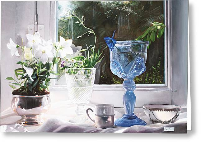 Interior Still Life Paintings Greeting Cards - Il Calice Blu Greeting Card by Danka Weitzen