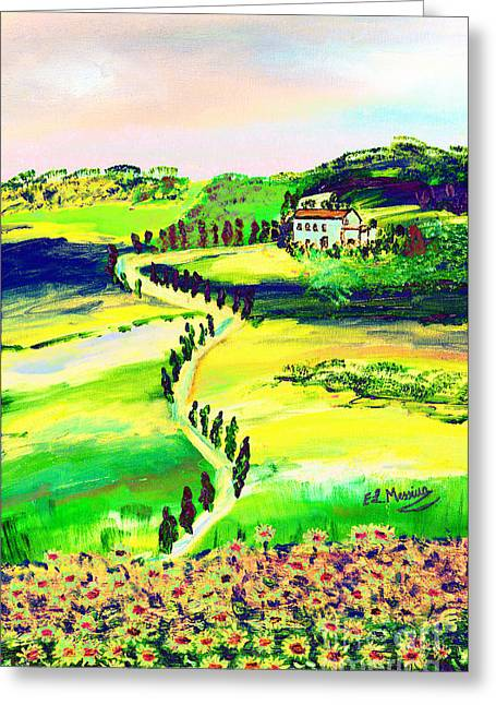 Pencil On Canvas Greeting Cards - Il casale Greeting Card by Loredana Messina