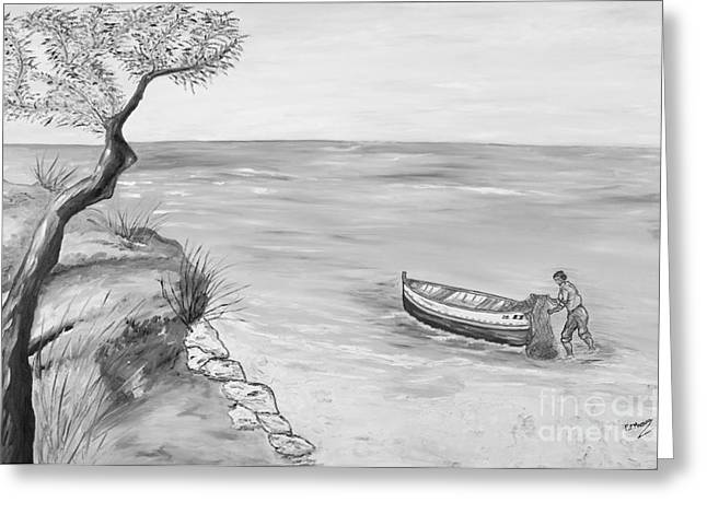 Mediterranean Landscape Drawings Greeting Cards - Il pescatore solitario Greeting Card by Loredana Messina
