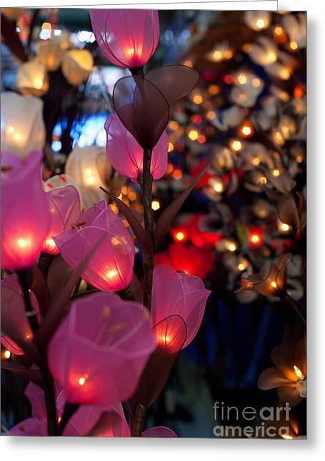 Night Lamp Greeting Cards - Illuminated Silk flowers in Bangkok Thailand Greeting Card by Fototrav Print
