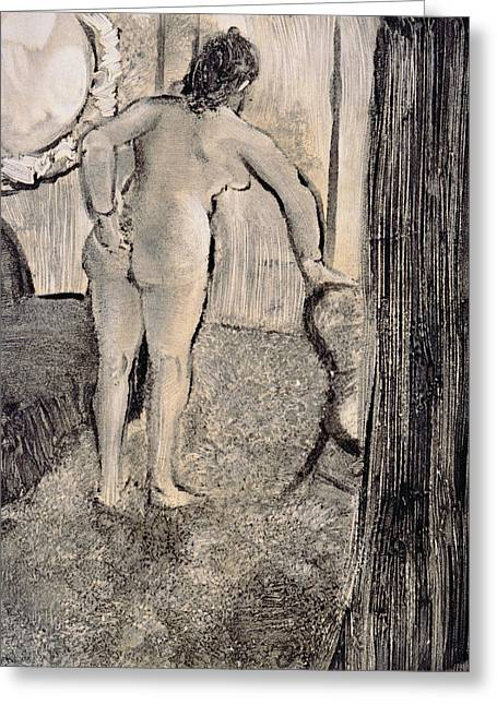 Interior Drawings Greeting Cards - Illustration from La Maison Tellier by Guy de Maupassant Greeting Card by Edgar Degas