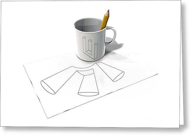 Impossible Object Greeting Cards - Impossible Figure, Artwork Greeting Card by Claus Lunau