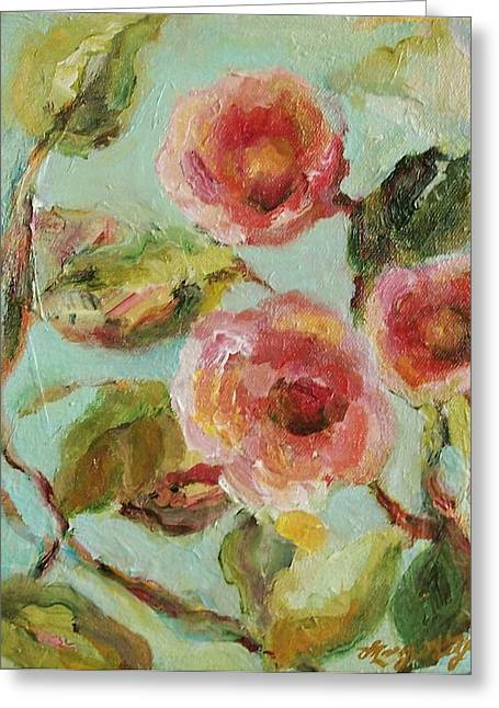 Tangerines Mixed Media Greeting Cards - Impressionist Floral Painting Greeting Card by Mary Wolf