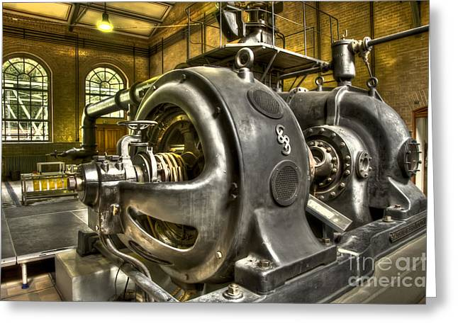 In The Ship-Lift Engine Room Greeting Card by Heiko Koehrer-Wagner