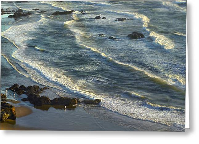 Beach Photos Greeting Cards - Incoming Waves At Bandon Beach Oregon Greeting Card by Tim Fitzharris