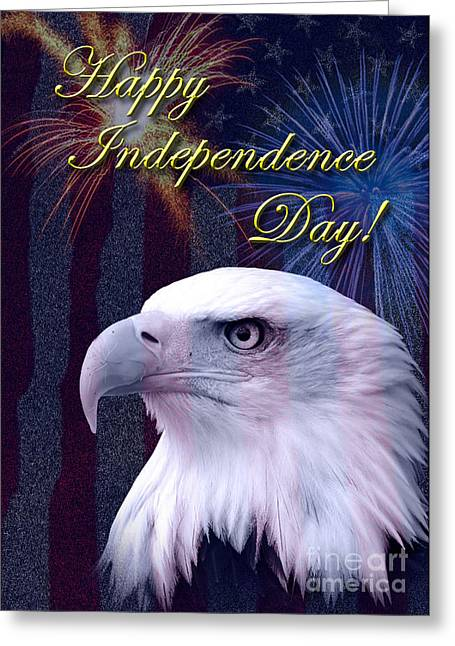 Wildlife Celebration Greeting Cards - Independence Day Eagle Greeting Card by Jeanette K