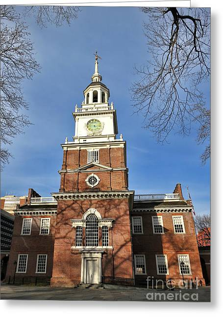 Philadelphia History Greeting Cards - Independence Hall in Philadelphia Greeting Card by Olivier Le Queinec