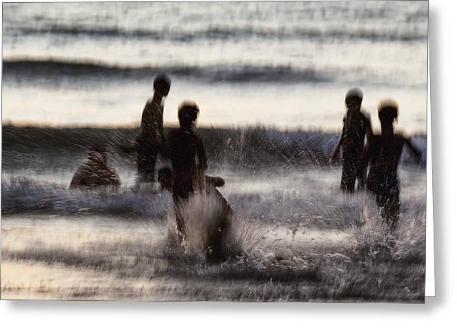 Surf Silhouette Greeting Cards - India, Karnataka, Blurry Figures In Greeting Card by James Sparshatt