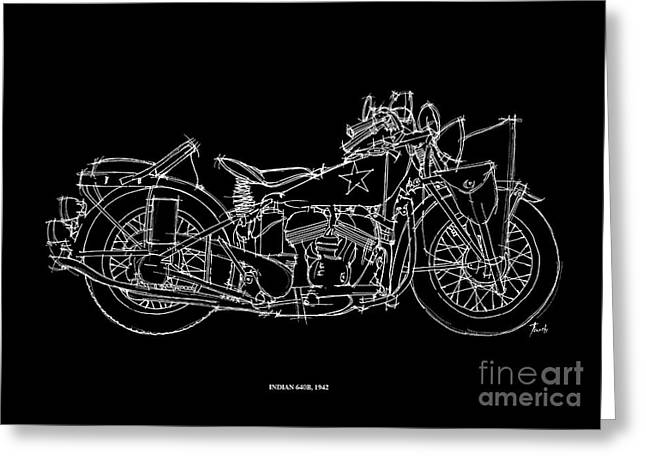 Motorcycles Pastels Greeting Cards - Indian 640B 1942 Greeting Card by Pablo Franchi