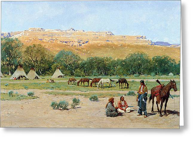 Indian Warriors Photographs Greeting Cards - Indian Encampment Greeting Card by Henry Farny