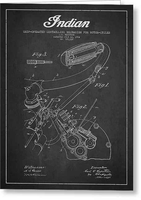 Chopper Greeting Cards - Indian motorcycle Patent From 1904 - Dark Greeting Card by Aged Pixel