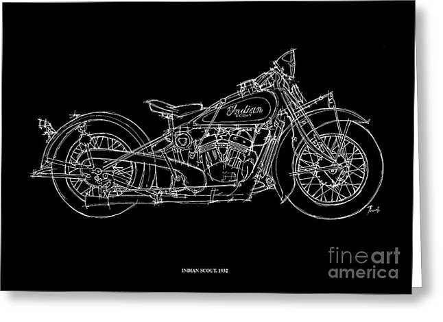 White On Black Greeting Cards - Indian Scout 1932 Greeting Card by Pablo Franchi