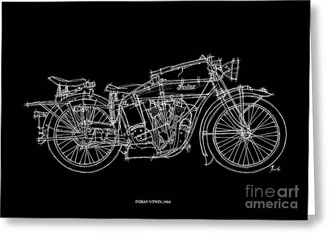 Handmade Drawings Greeting Cards - Indian V Twin 1914 Greeting Card by Pablo Franchi