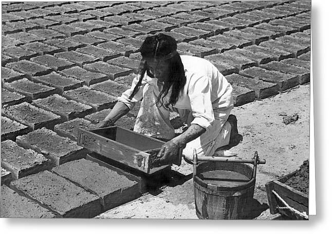 Adobe Greeting Cards - Indians Making Adobe Bricks Greeting Card by Underwood Archives