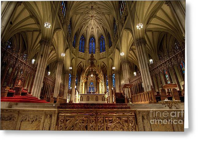 Chandelier Greeting Cards - Inside St Patricks Cathedral New York City Greeting Card by Amy Cicconi