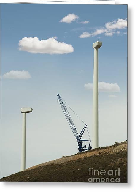 Install Greeting Cards - Installation of wind turbines Greeting Card by Deyan Georgiev