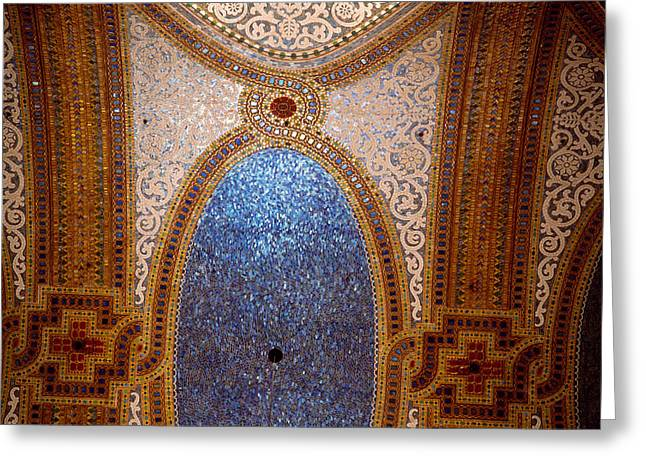 Art Glass Mosaic Greeting Cards - Interior Detail Of Tiffany Dome Greeting Card by Panoramic Images
