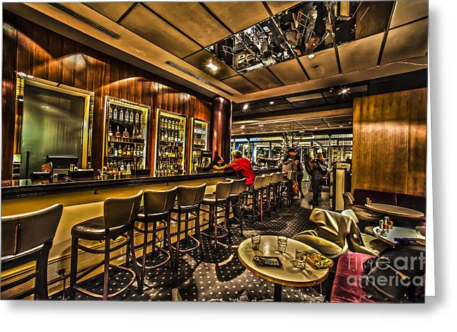 Responsibly Greeting Cards - interior of a bar HDR Greeting Card by Dan Yeger