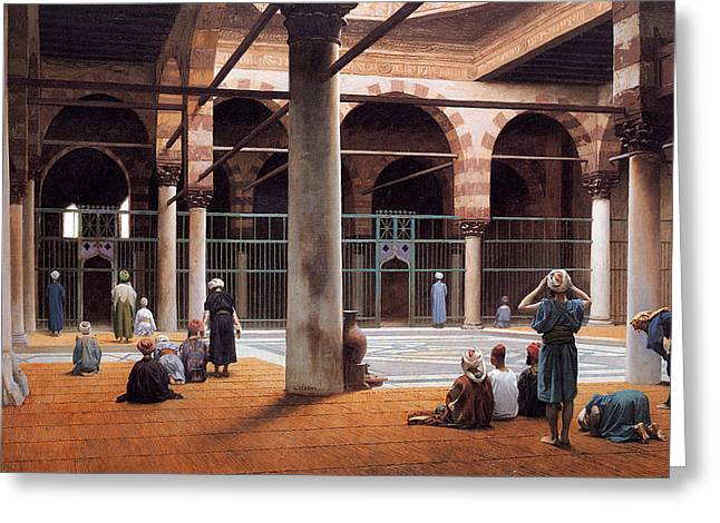 Gerome Greeting Cards - Interior of a Mosque Greeting Card by Jean-Leon Gerome
