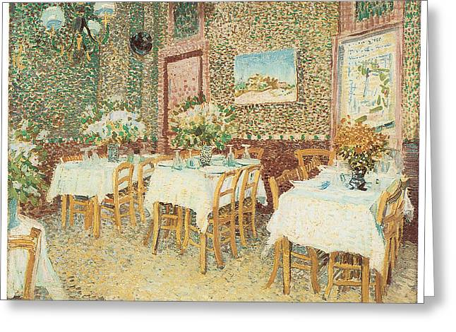 Table And Chairs Greeting Cards - Interior of a Restaurant Greeting Card by Vincent Van Gogh
