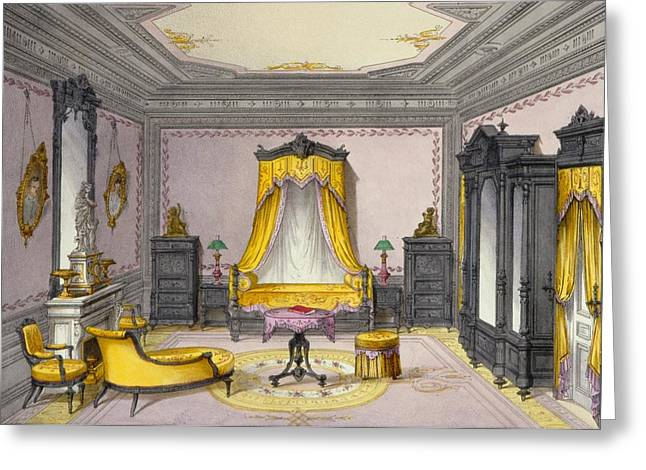Chaise Drawings Greeting Cards - Interior Showing Furniture Greeting Card by French School
