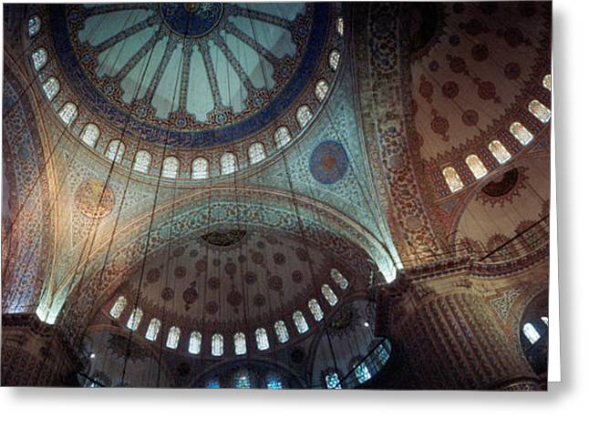 Ahmet Greeting Cards - Interiors Of A Mosque, Blue Mosque Greeting Card by Panoramic Images