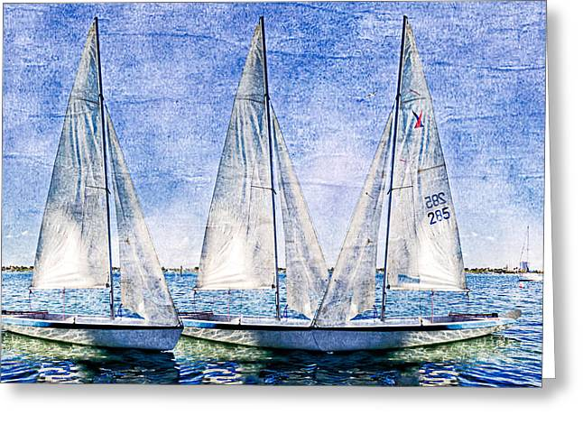 Docked Sailboats Greeting Cards - Into the Blue Greeting Card by Debra and Dave Vanderlaan
