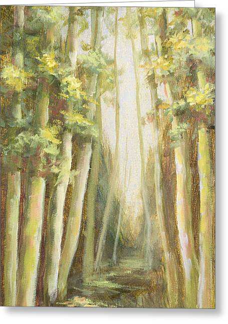 Into The Woods-series With Gold Leaf By Vic Mastis Greeting Card by Vic  Mastis