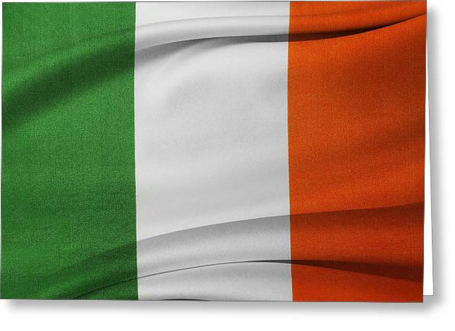 Textile Photographs Greeting Cards - Irish flag Greeting Card by Les Cunliffe