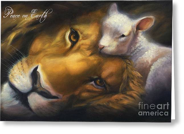 Lion And Lamb Greeting Cards - Isaiah Greeting Card by Charice Cooper