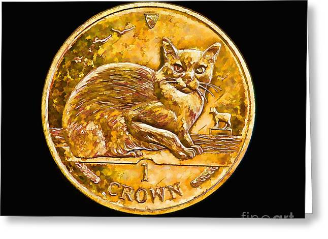 Protectorate Greeting Cards - Isle of Man Manx Cat Crown Coin Greeting Card by Kerry Gergen