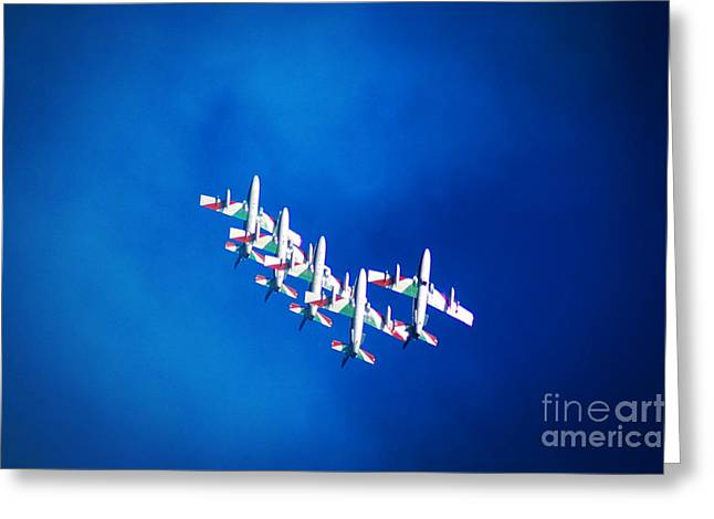Overcast Day Greeting Cards - Italian Aerobatics team Greeting Card by Stefano Senise