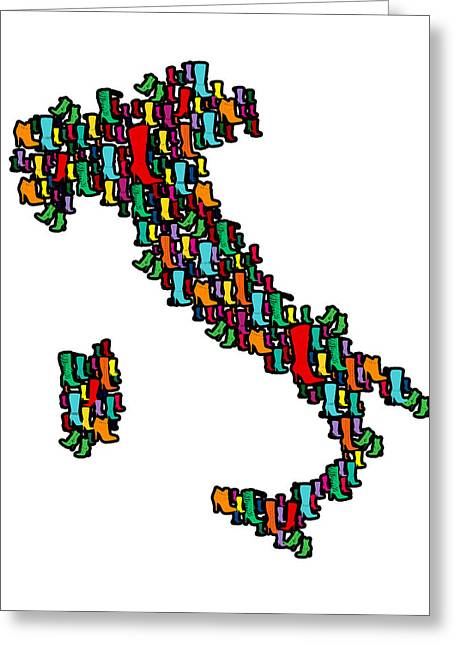 Italy Map Greeting Card by Mark Ashkenazi