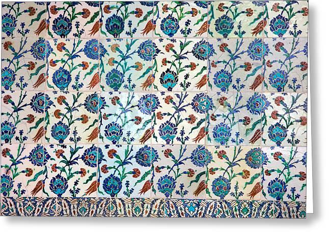 Tiled Greeting Cards - Iznik Ceramics with Floral Design Greeting Card by Artur Bogacki