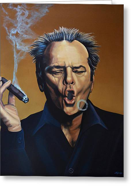 Realistic Paintings Greeting Cards - Jack Nicholson Greeting Card by Paul  Meijering