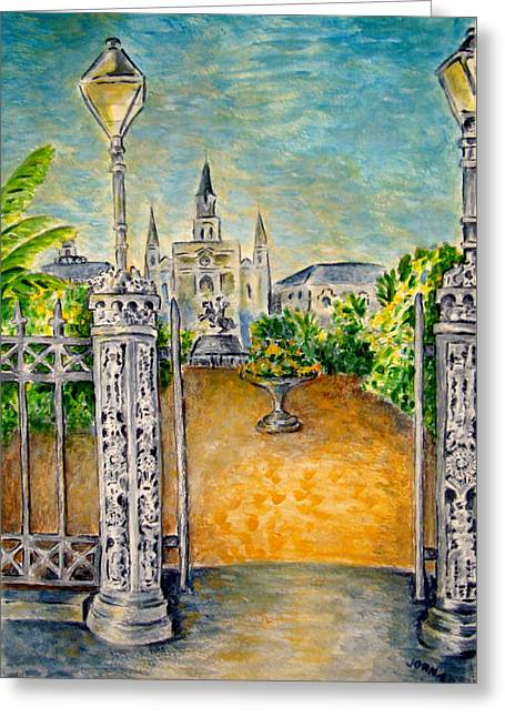Jackson Square- Early Morning Greeting Card by Joan Landry