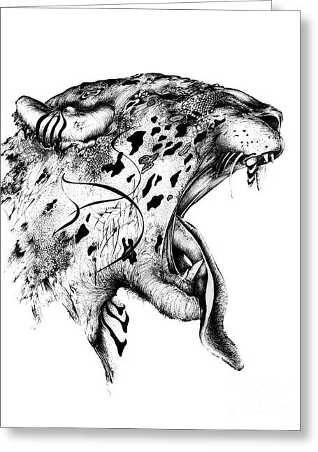 Wild Life Drawings Greeting Cards - Jagger Greeting Card by Penelope Fedor