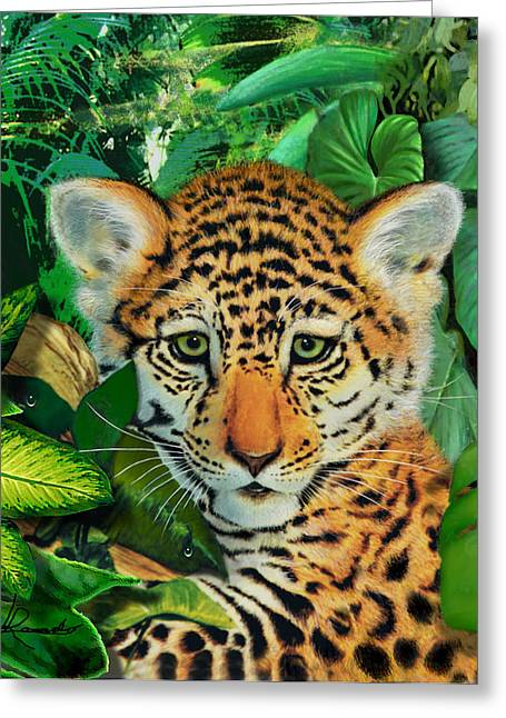 Jaguars Mixed Media Greeting Cards - Jaguar Cub Greeting Card by Edwin Rosado