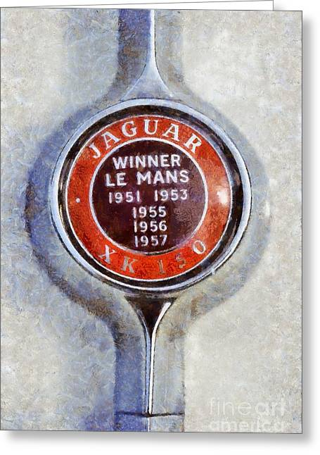 Car Mascot Paintings Greeting Cards - 1957 Jaguar XK 150 Greeting Card by George Atsametakis