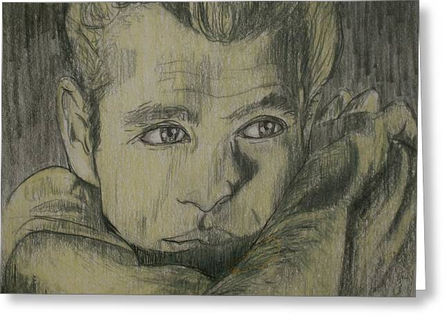 Linda Simon Wall Decor Drawings Greeting Cards - James Dew Dean Greeting Card by Linda Simon