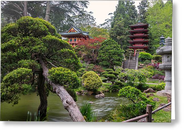 Temple West Greeting Cards - Japanese Tea Garden - Golden Gate Park Greeting Card by Adam Romanowicz