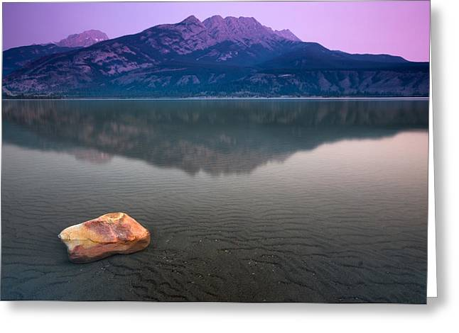 Alberta Landscape Greeting Cards - Jasper Lake Sunrise Greeting Card by Cale Best