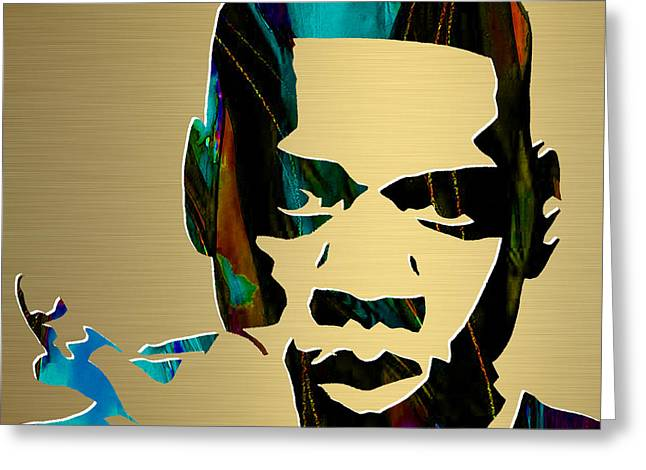 Den Greeting Cards - Jay Z Gold Series Greeting Card by Marvin Blaine