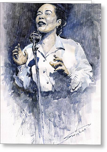 People Greeting Cards - Jazz Billie Holiday Lady Sings The Blues  Greeting Card by Yuriy  Shevchuk
