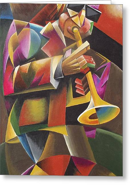 Bands On Stage Paintings Greeting Cards - Jazz Horn Greeting Card by Bob Gregory