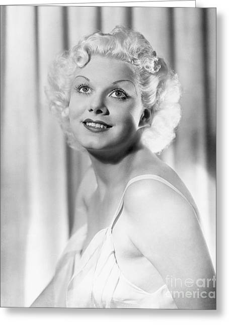 Leading Lady Greeting Cards - Jean Harlow Greeting Card by MMG Archive Prints