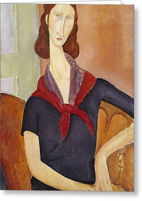 Modigliani Greeting Cards - Jeanne Hebuterne Greeting Card by Amedeo Modigliani